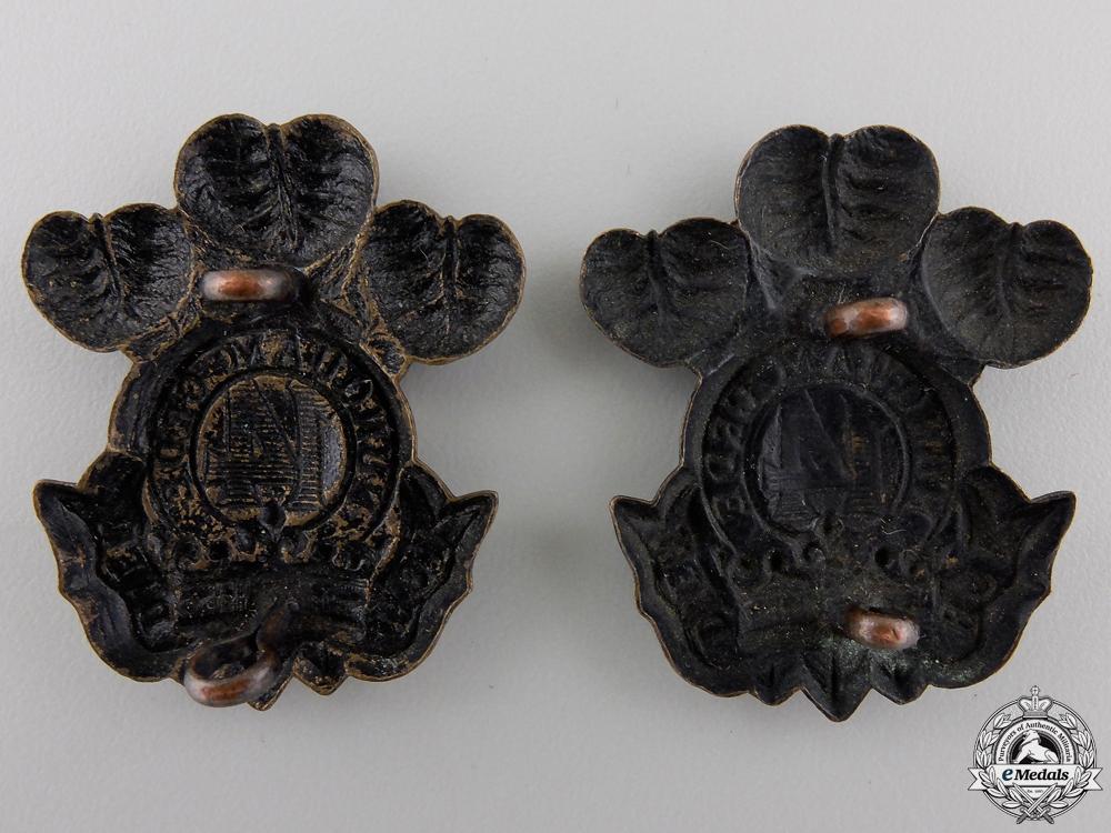 A 14th Regiment Militia Princes of Wales' Own Regiment Collar Badge Pair