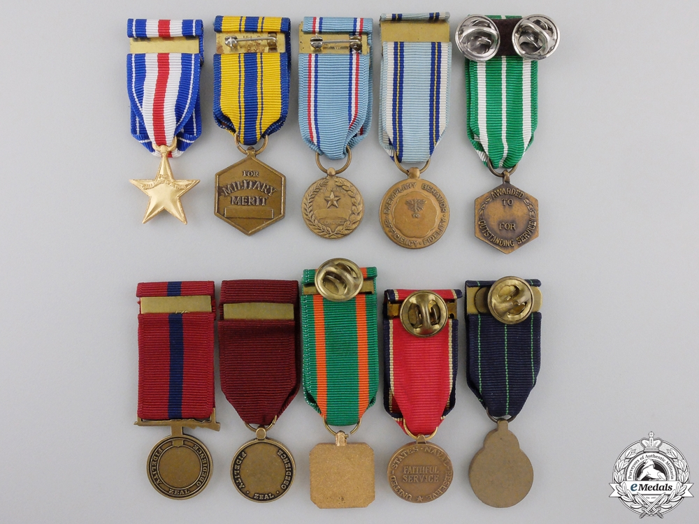 Ten American Miniature Medals and Awards