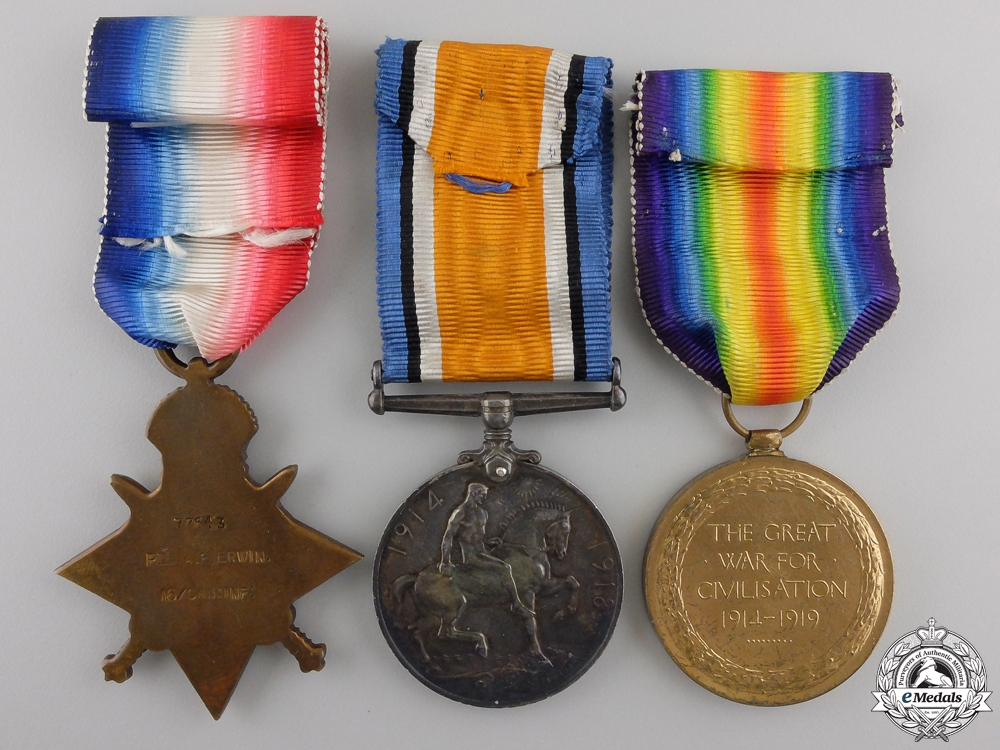 A First War Medal Trio to the 18th Canadian Infantry CEF