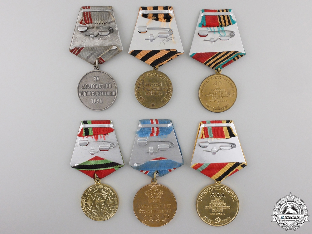 Six Soviet Medals, Decorations and Awards