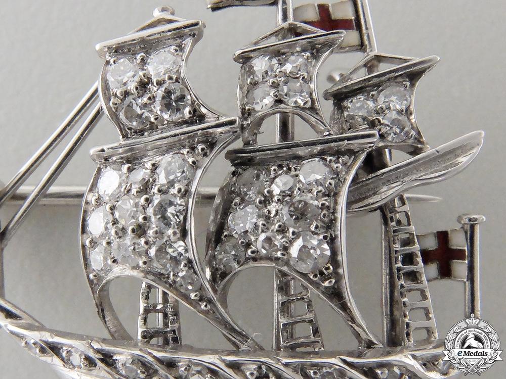 A British Royal Navy Ship Pin in Platinum & Diamonds