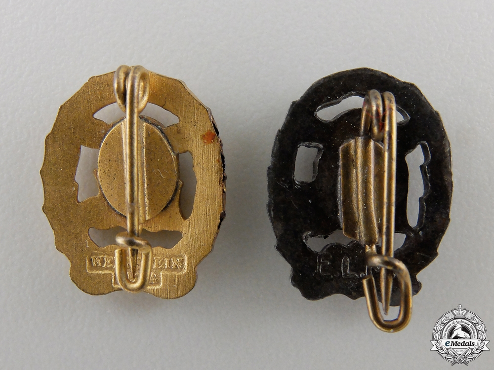 A Pair of Miniature DRL Sport Badges; Gold & Bronze Grade
