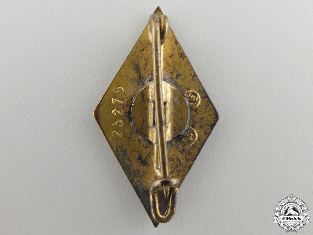 A Golden HJ Honour Badge; RZM Marked