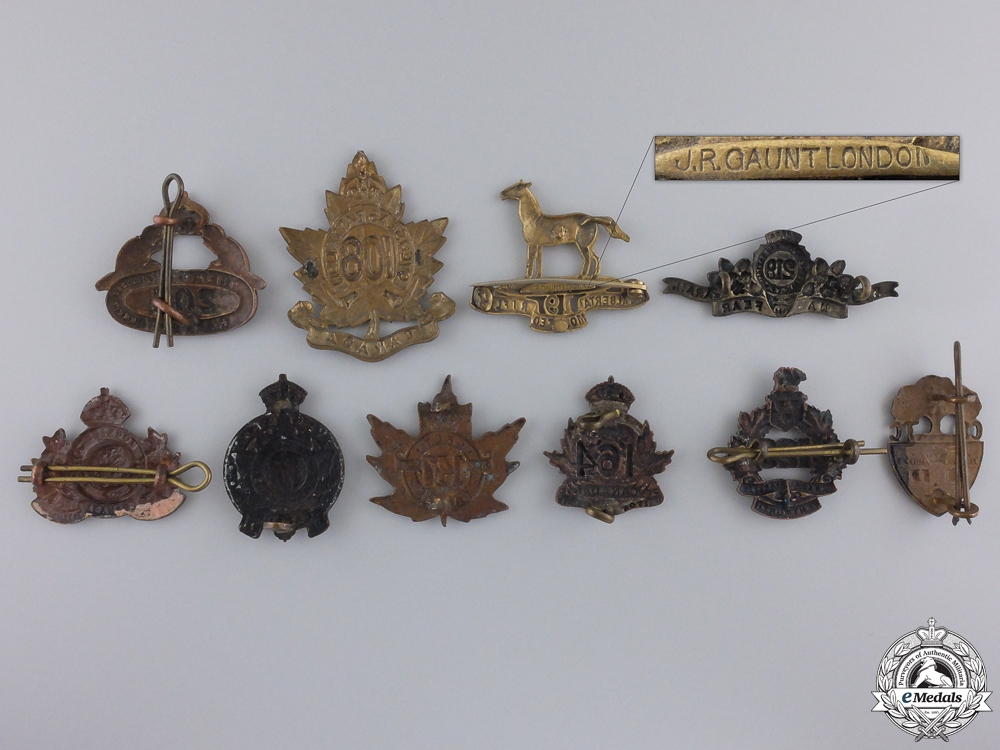 Ten First War Canadian Collar Badges