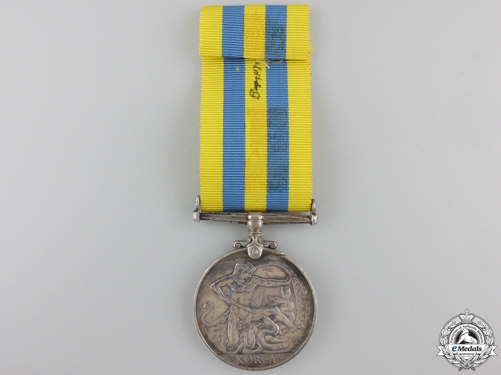 A Korea Service Medal to the Royal Canadian Navy