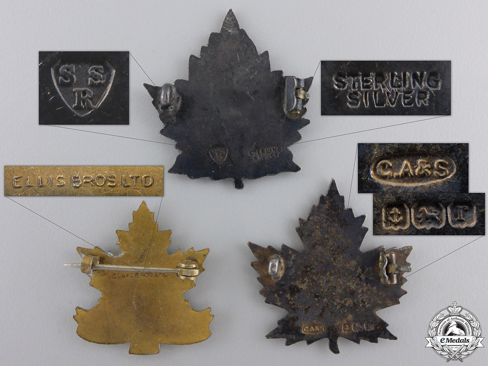 Three First War Canadian Battalion Sweetheart Badges