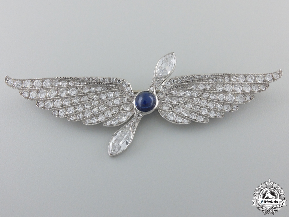 A Most Superb First War French Aviation Wing in Platinum & Diamonds