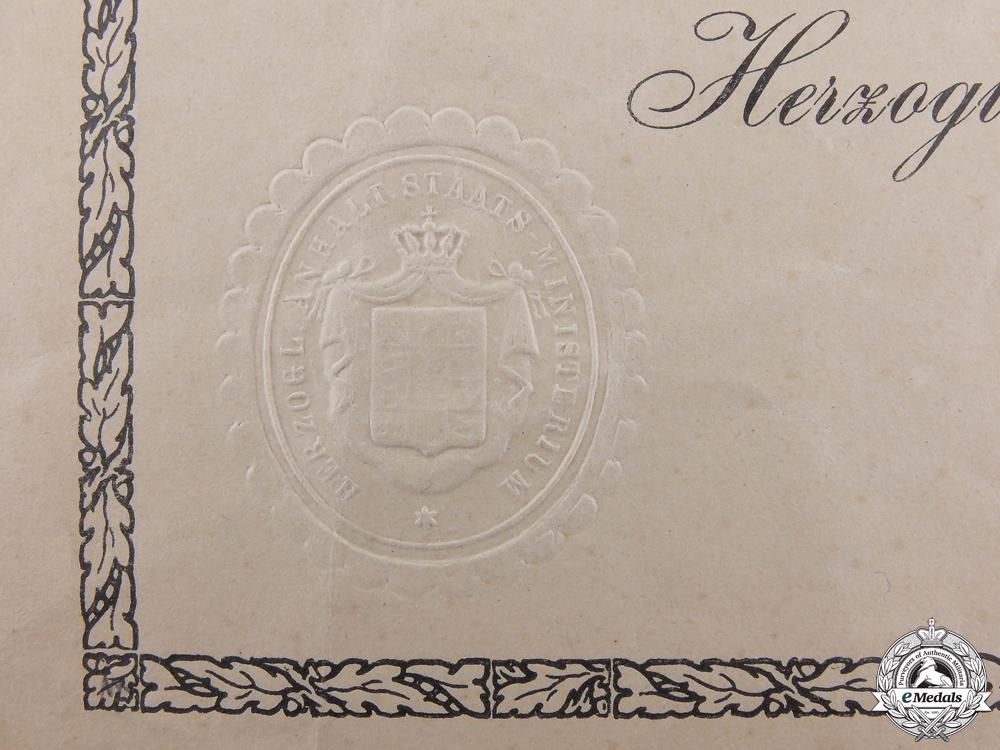 A 1916 Anhalt Friedrich Cross Award Document