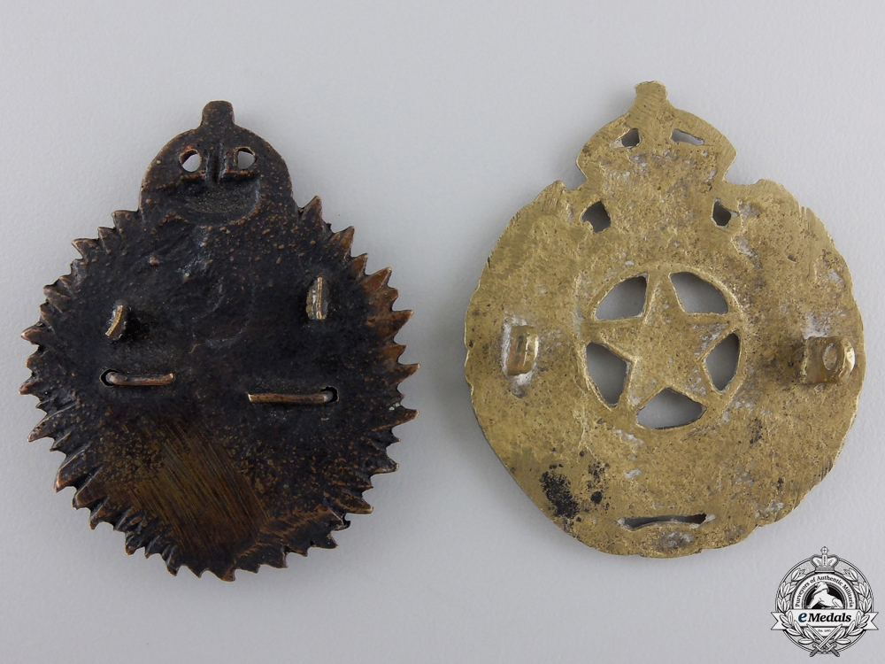 Two Second War Indian Cap Badges