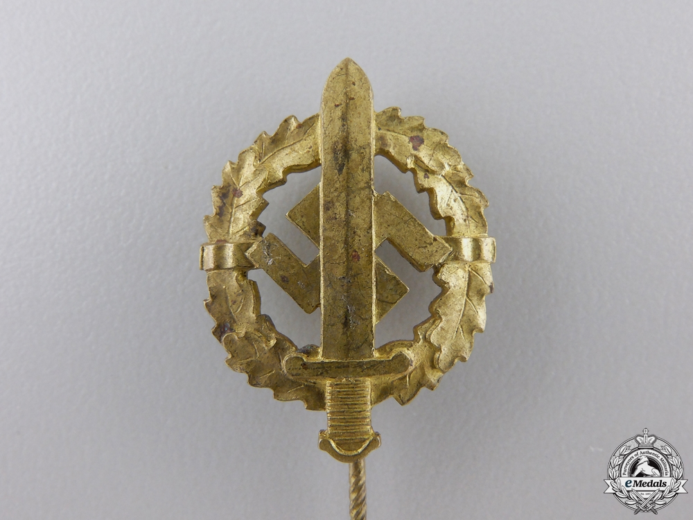 A Miniature SA Defense Badge; Gold Grade