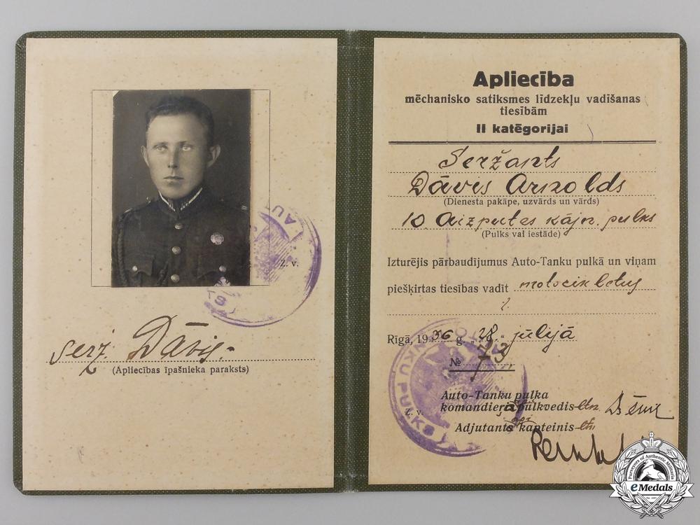 Latvia, Republic. A Tank Regiment License, c.1941