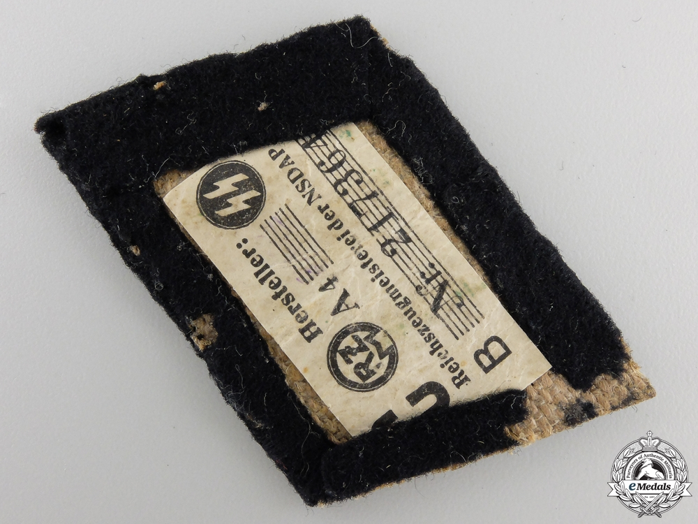 A Tunic Removed Officer's SS Collar Tab; RZM Tagged