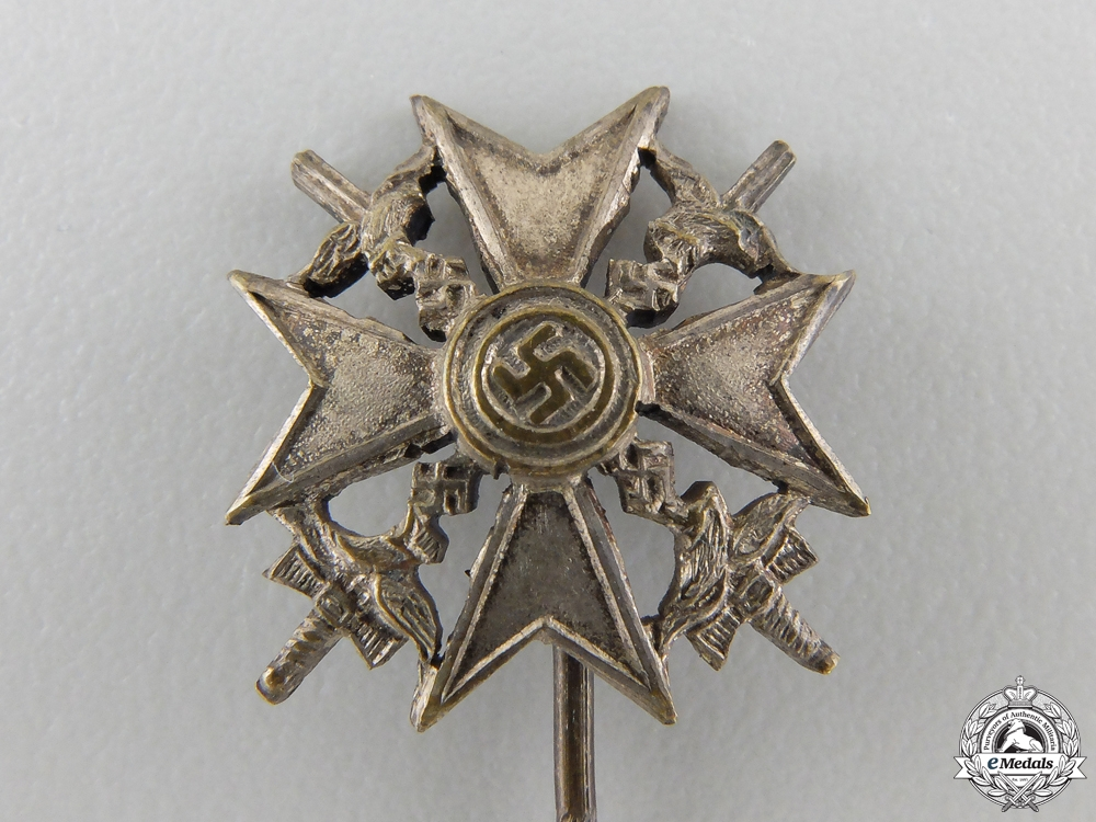 A Miniature Spanish Cross with Swords; Silver Grade