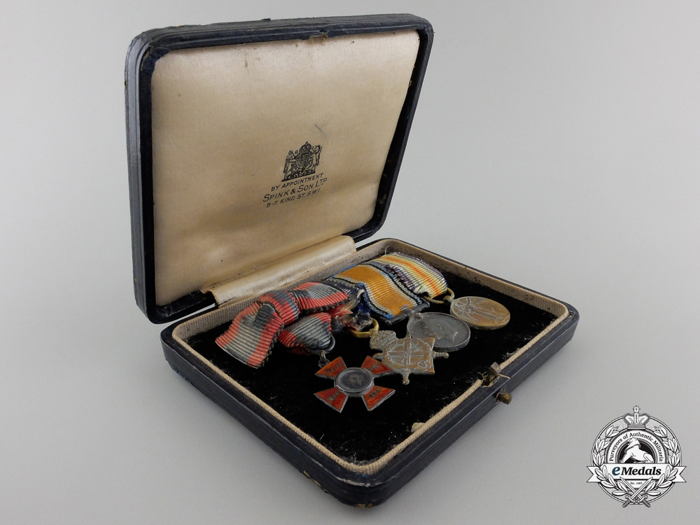 A First War Nursing Miniature Group of Four with Case