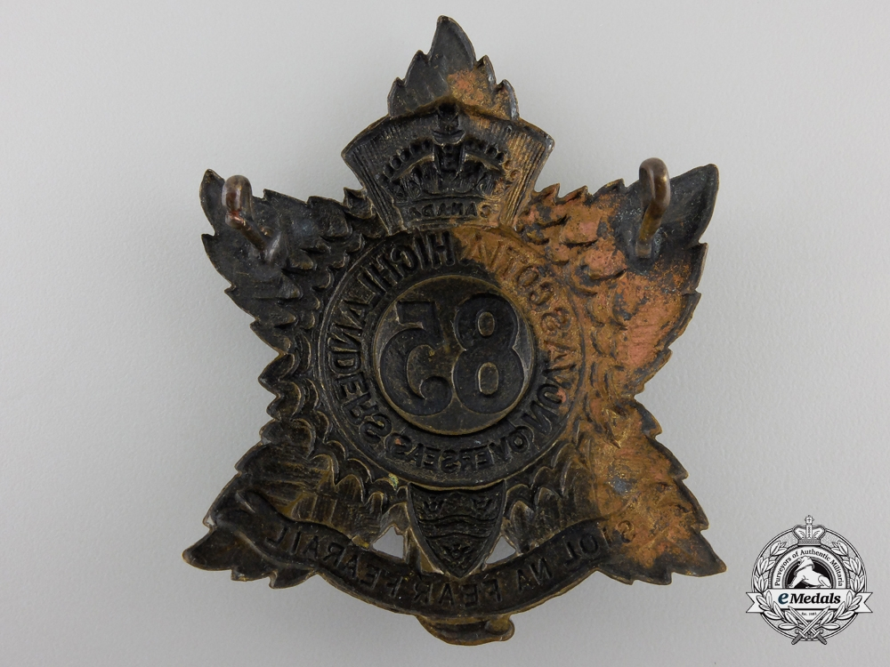 "WWI 85th Infantry Battalion ""Nova Scotia Highlanders"" Badge"