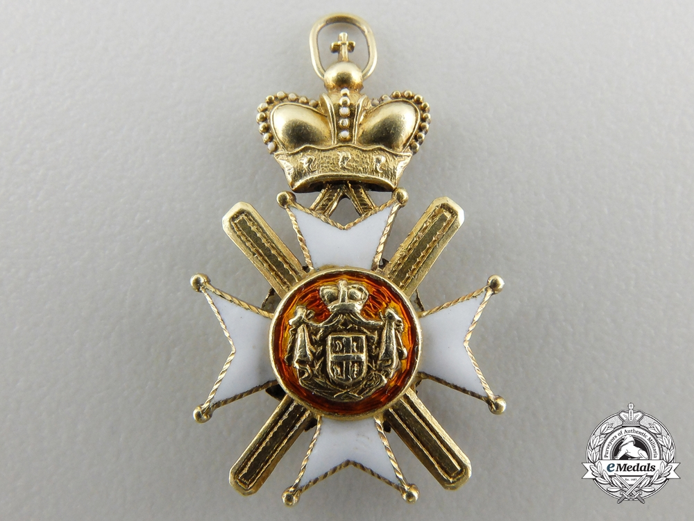 A Miniature Serbian Order of Takovo in Gold