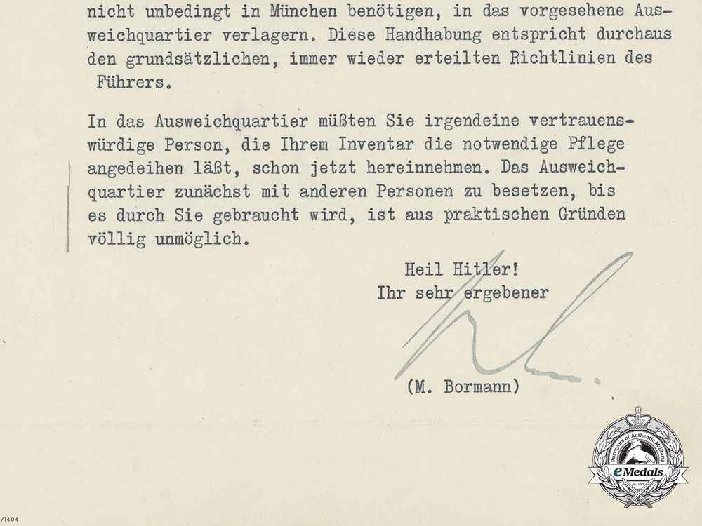 An April 1944 Signed Letter from Martin Bormann