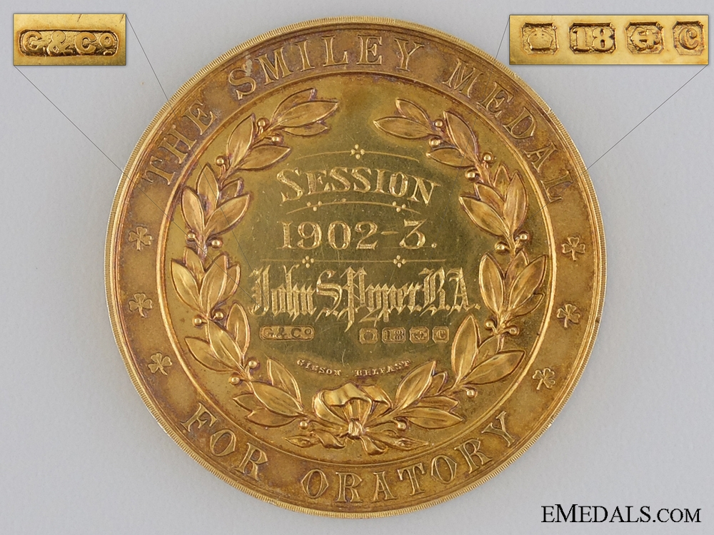 A Solid Gold 1902-03 Smiley Medal for Oratory; Belfast