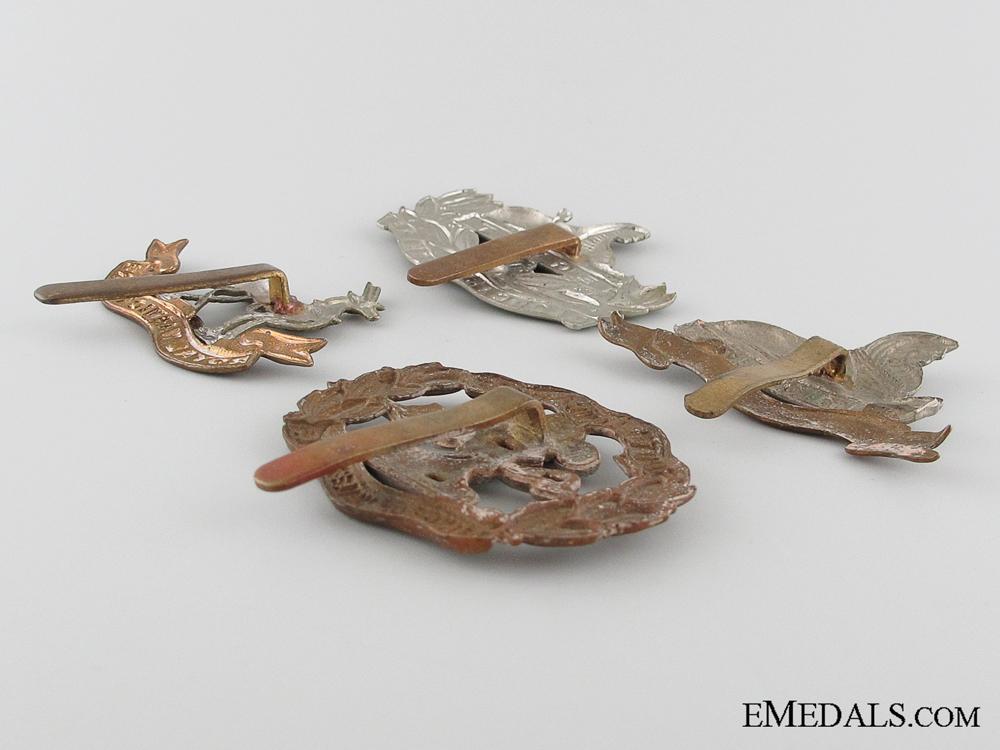 Four First & Second War British Cap Badges