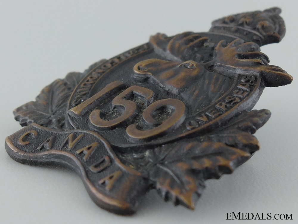 "WWI 159th Infantry Battalion ""1st Algonquin"" Cap Badge"