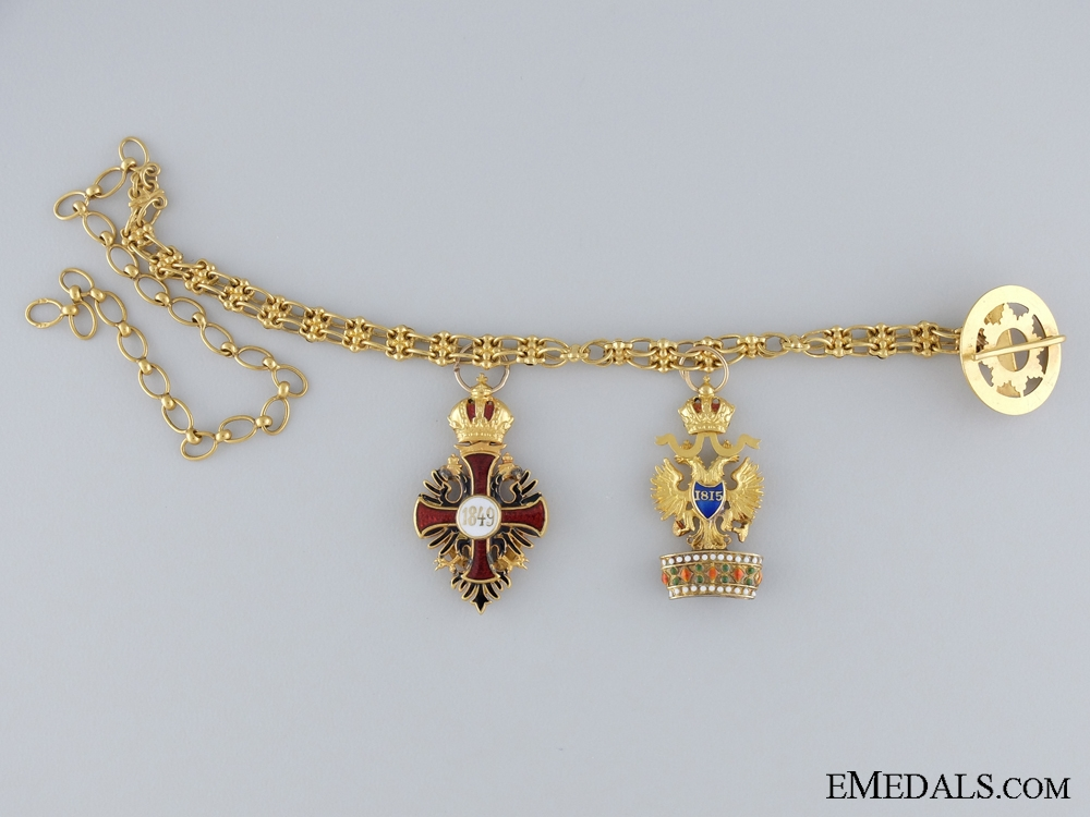 A Fine Franz Joseph & Iron Crown Miniature Pair in Gold c.1900