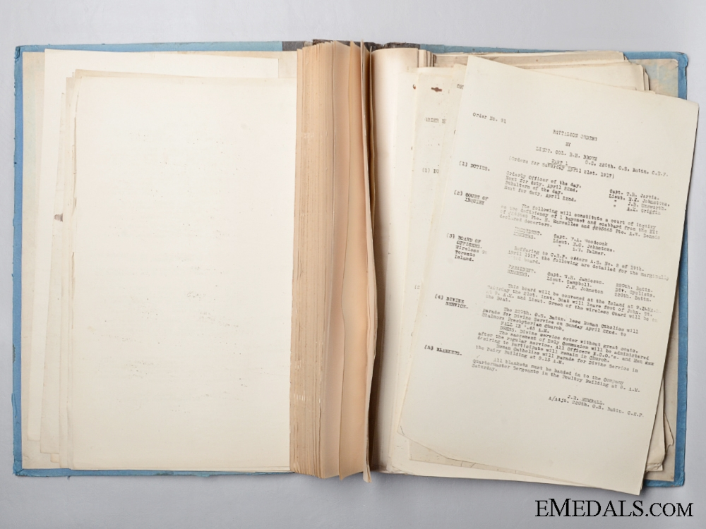 WWI 220th Battalion Daily Orders Book and Cancelled Cheques