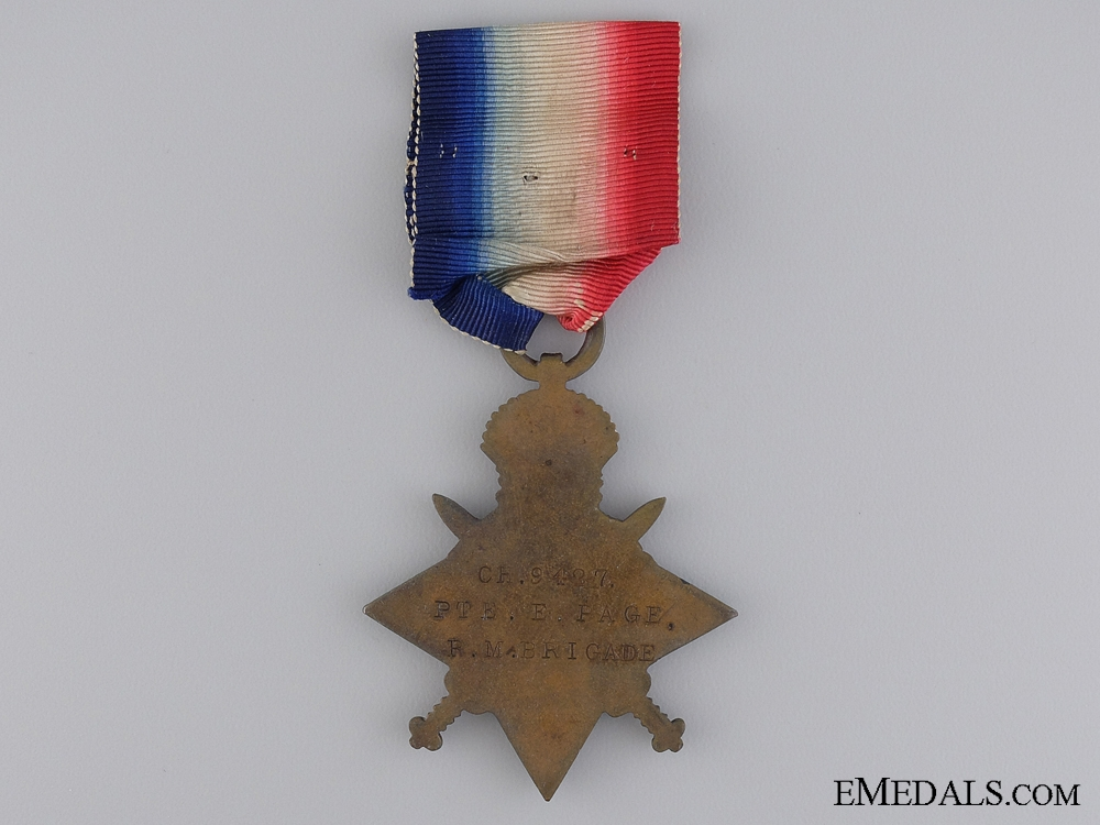 A 1914 Mons Star with Bar to the Royal Marine Brigade