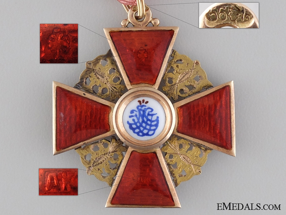 Order of St. Anne in Gold; Third Class Cross