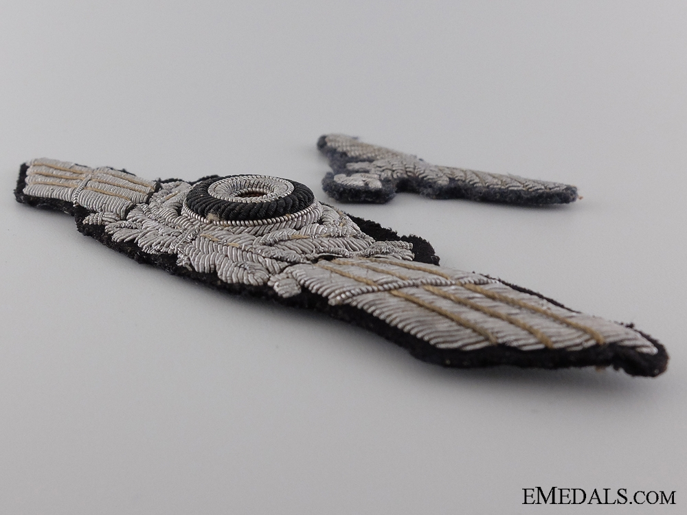 A Luftwaffe Officer Visor Wreath with Cockade and Breast Eagle