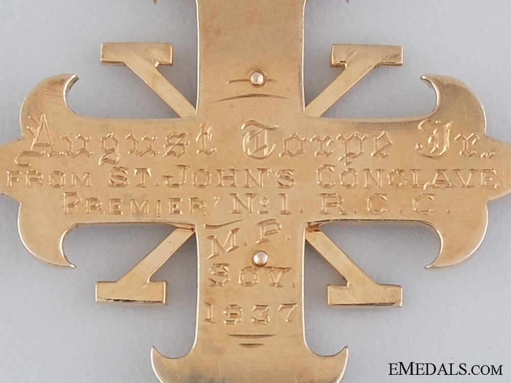 A Gold 1937 Red Cross of Constantine; Breast Jewel; 3rd Degree