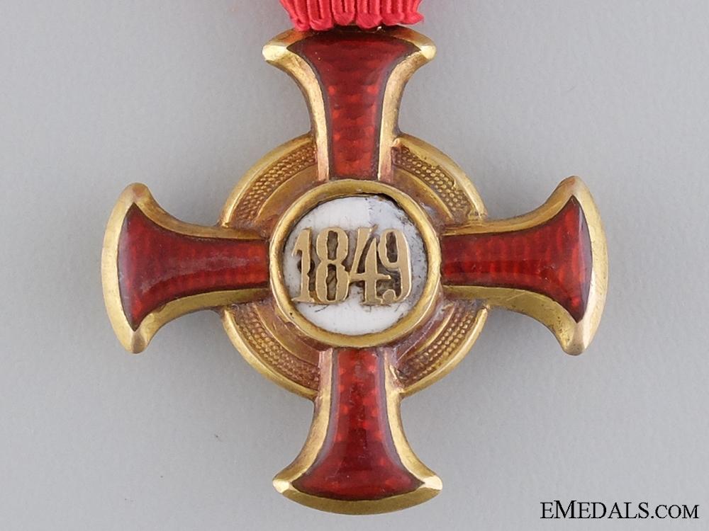 An Austrian Merit Cross 1849 in Gold by F.Braun, Vienna