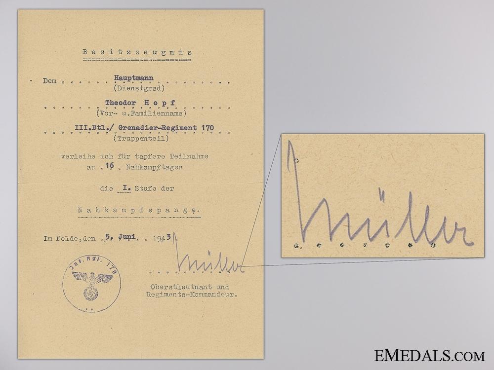 A Preliminary Knight's Cross Award Document to Theodor Hopf