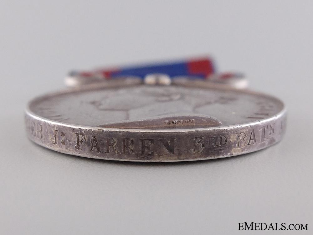 A 1845-1846 Sutlej Medal  to Gunner J. Farren; 3rd Battalion Artillery