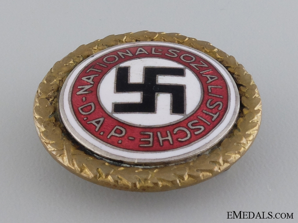 A Set of NSDAP Golden Party Badge by Deschler