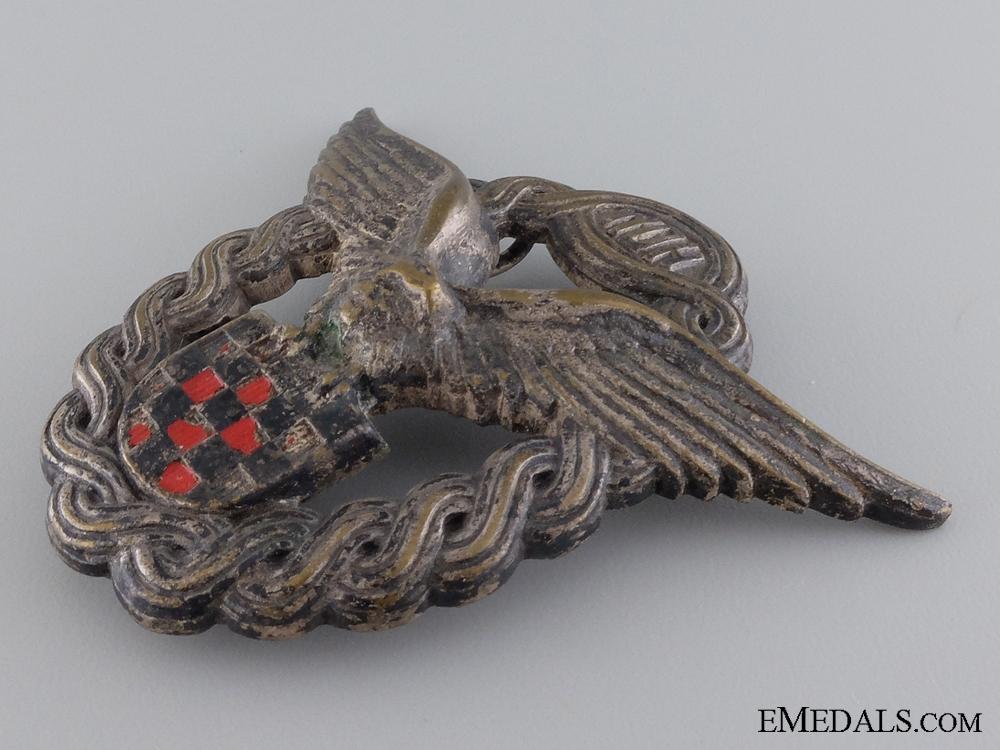 A Rare Second War Croatian Pilot's Badge; First Model