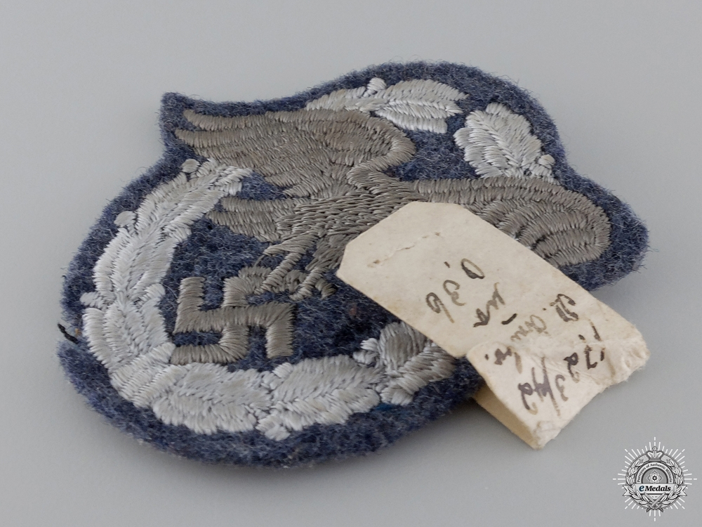 A Luftwaffe Observer's Badge; Cloth Version with Sales Tag