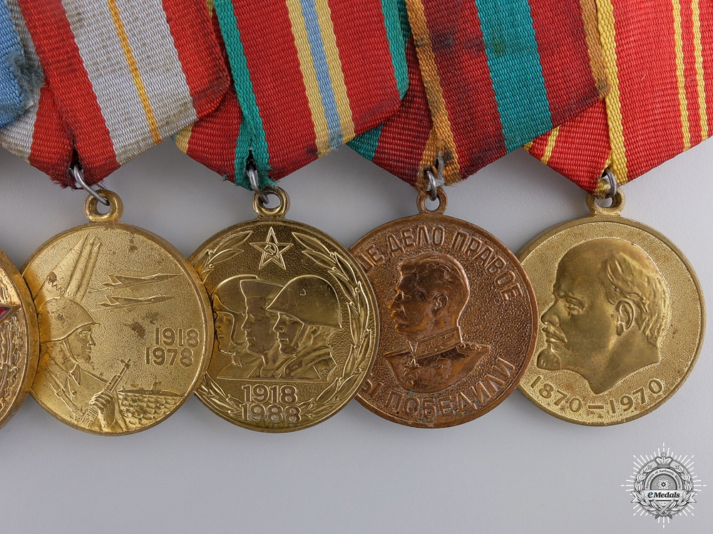 Russia, Soviet Union. An Extensive Commemorative Medal Bar