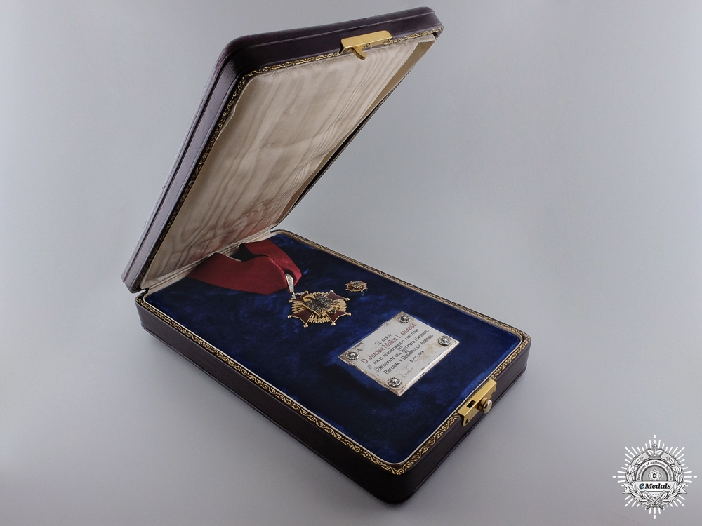 A Spanish Order of Cisneros; Commander in Gold to D. Joaquin Munoz Larrabide