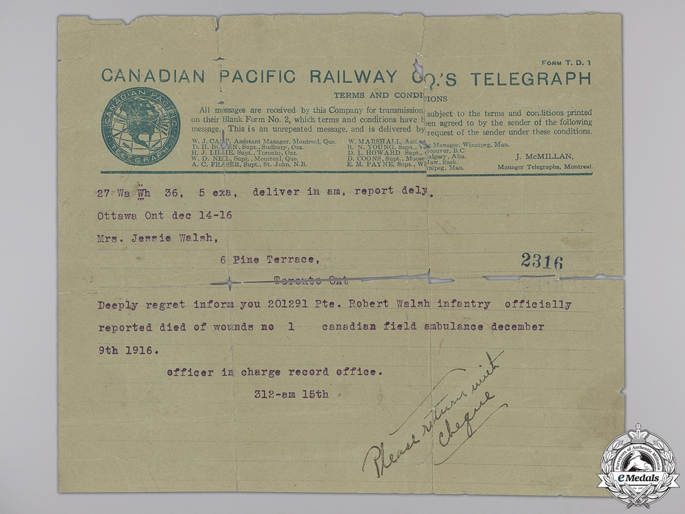 A First War Telegram to the 3rd Canadian Infantry Battalion