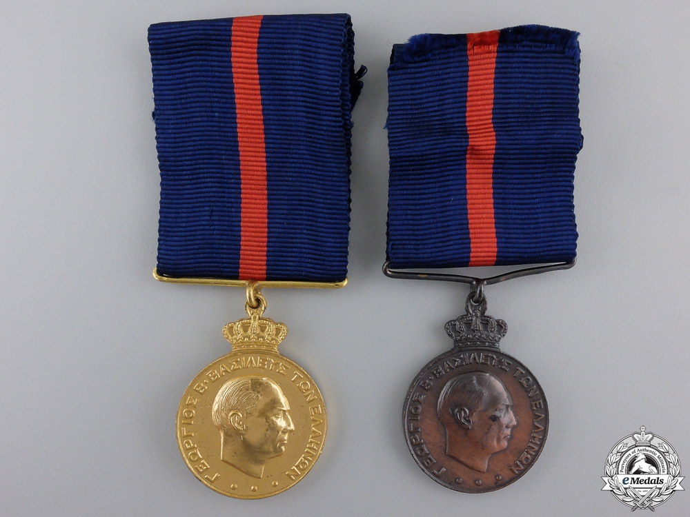 Two Greek Army Long Service & Good Conduct Medals; 1st and 3rd Class