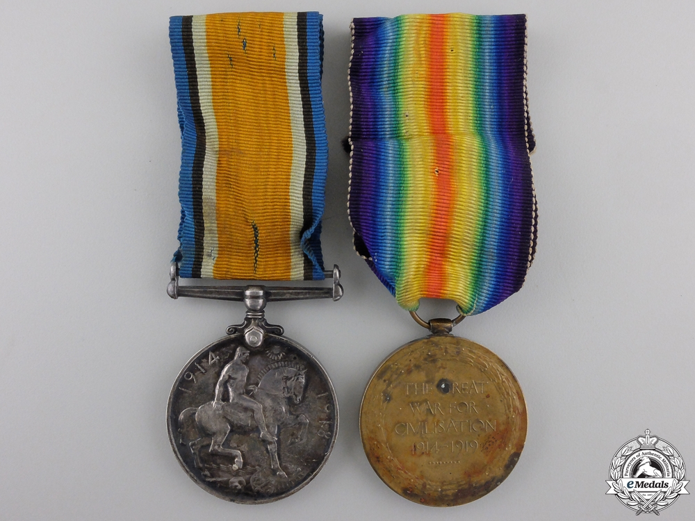A First War Medal Pair to the Canadian Engineers with Badge