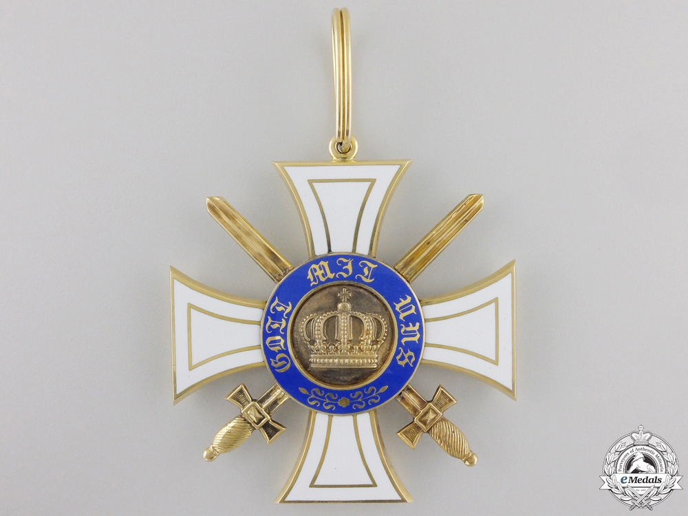 A Prussian Order of the Crown with Swords; First Class Cross in Gold