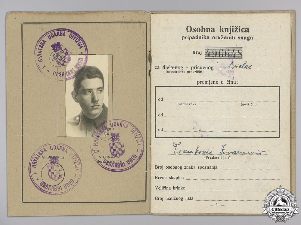 A Second War Croatian Army Personal ID Booklet