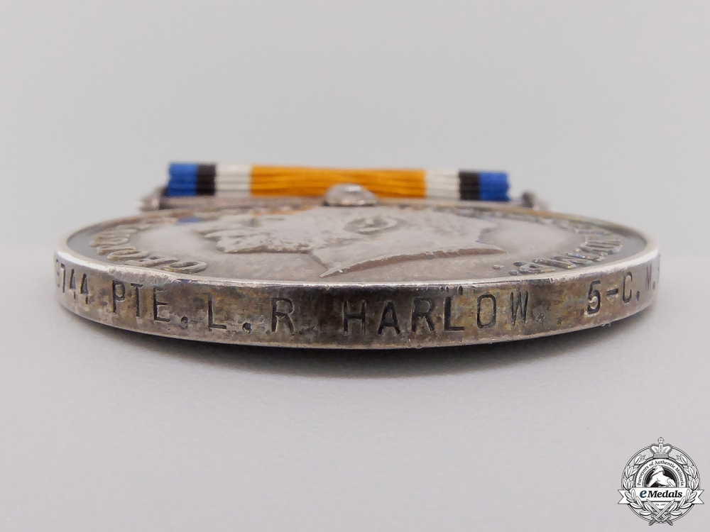A WWI British War Medal to the 5th Canadian Mounted Rifles