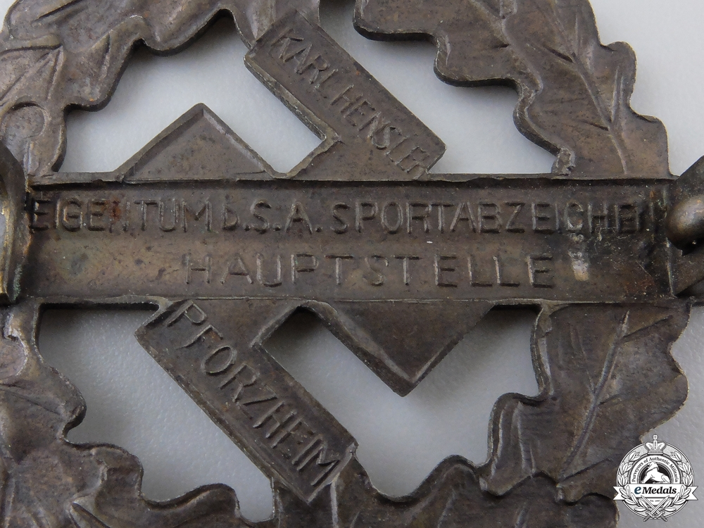 A Bronze Grade Sports Badge by Karl Hensler