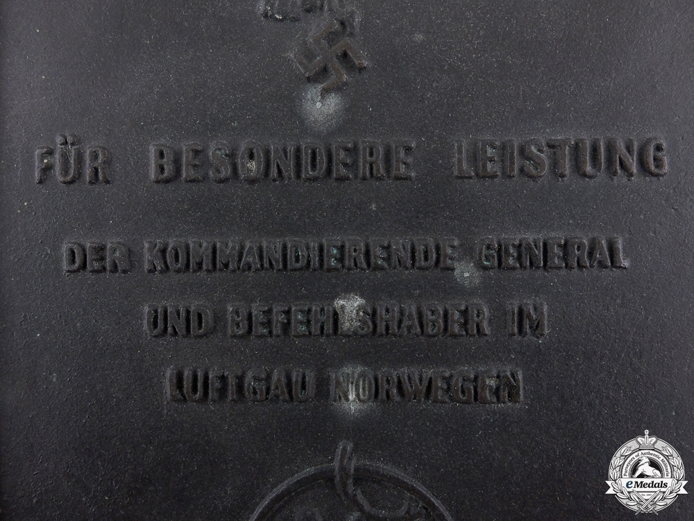 A Luftwaffe Honour Plaque for Special Performance in Norway