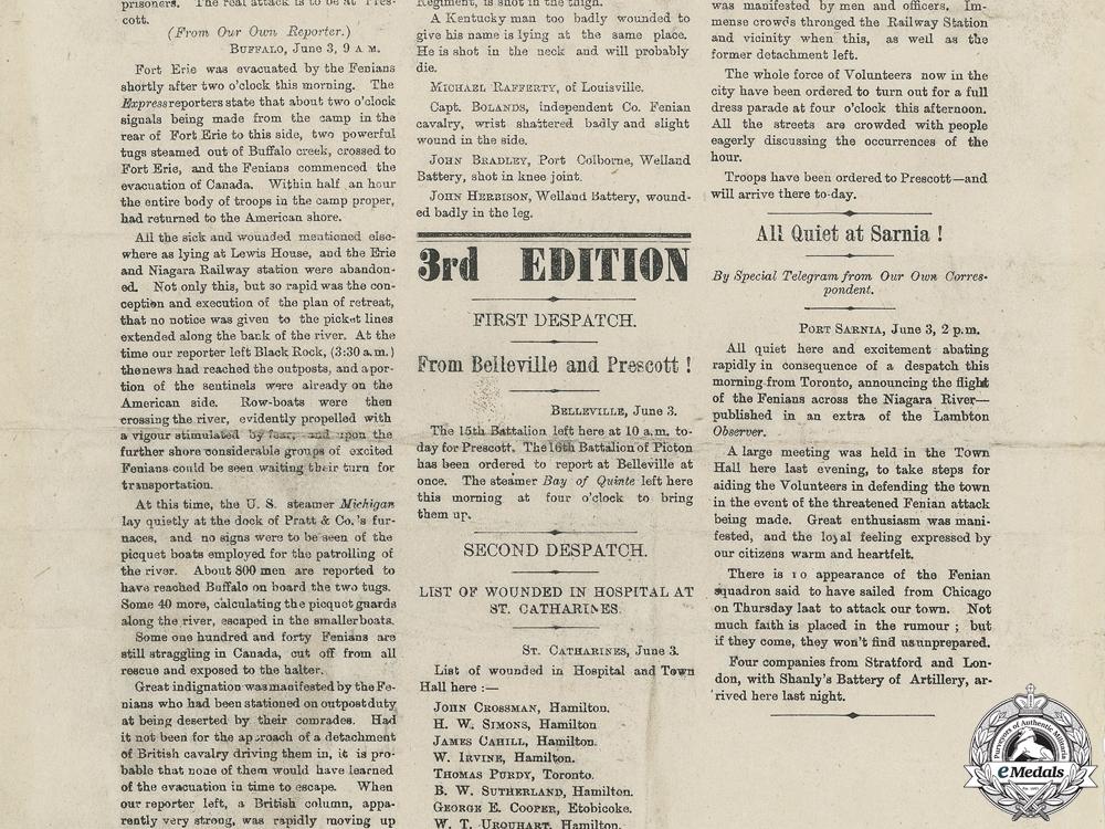 A Rare Fenian Raid Globe Extra Posting of June 3, 1866