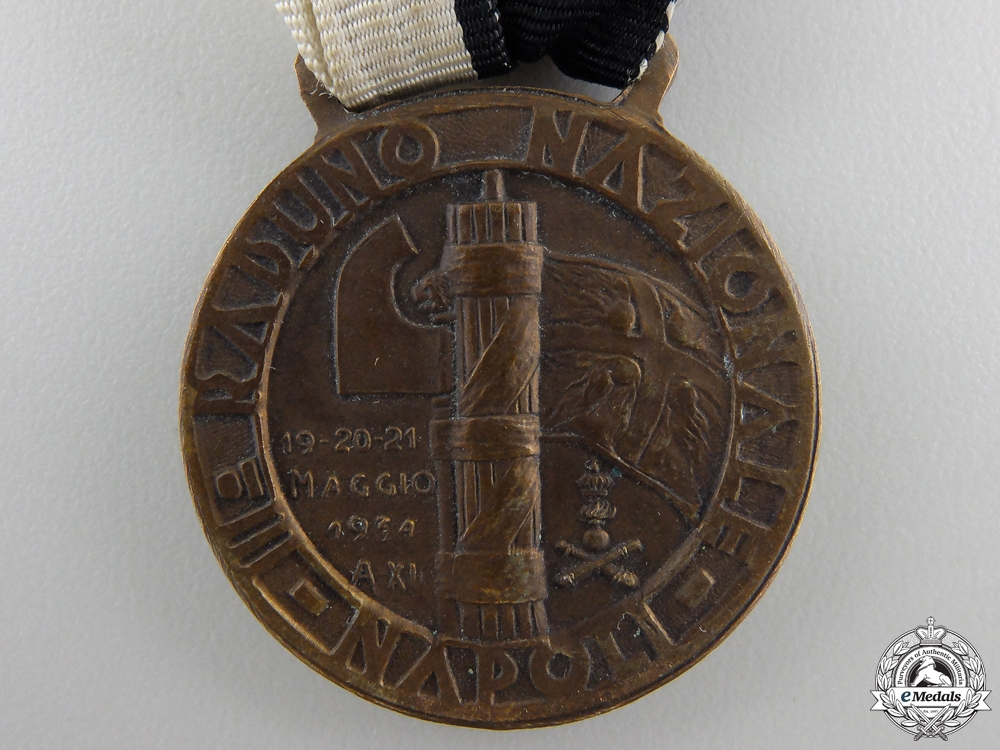 A 1934 3rd National Gathering of Artillery Gunners in Naples Medal