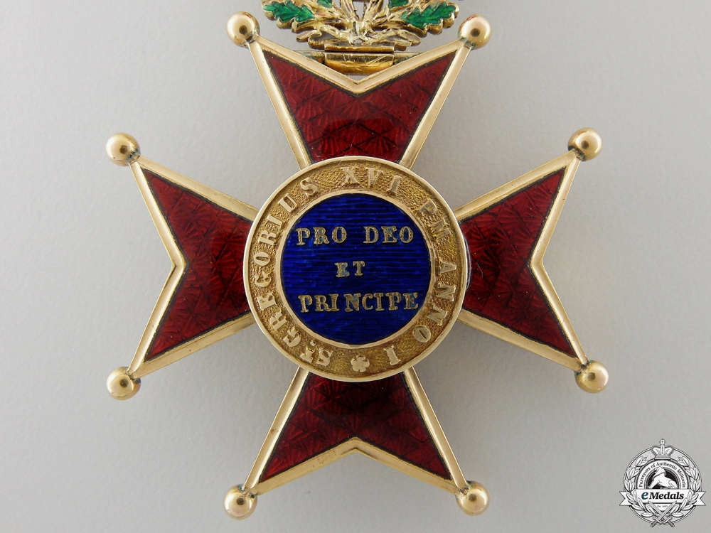 A French Made Order of St. Gregory; Officer's Cross in Gold