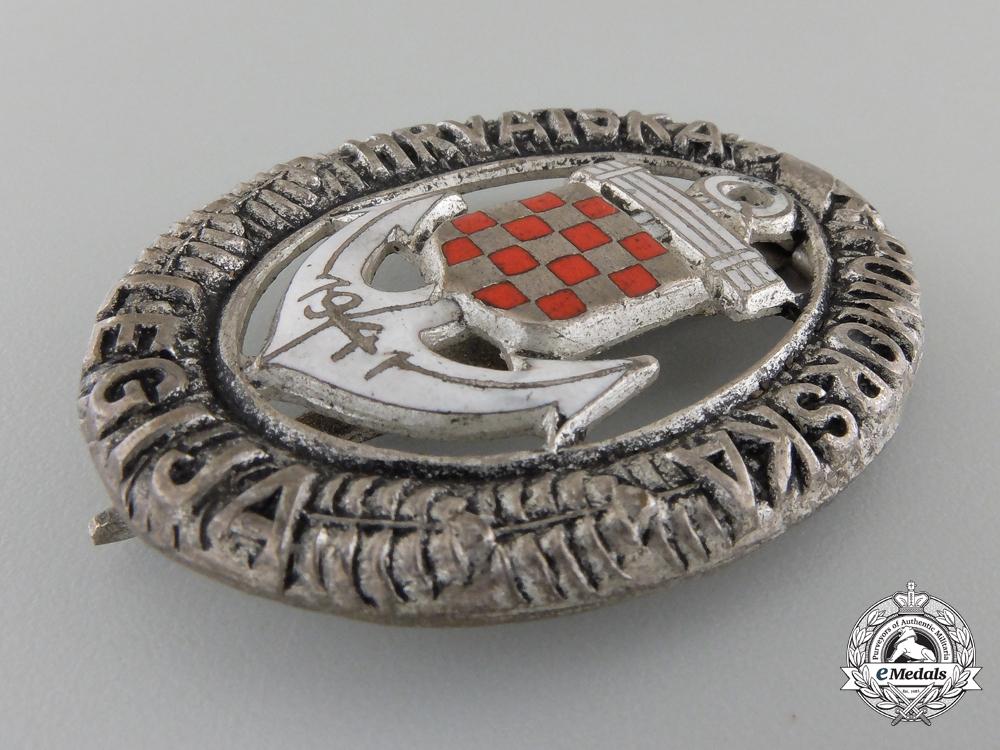 A Second War Croatian Naval Badge; German Made
